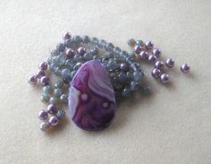 Agate Pendant, Jade Beads, Glass Beads, Glass Pearls, DIY Jewelry Kit, Jewelry Making Beads, Bead Kit, Gemstone Bead, Necklace Kit, Purple by CatsBeadKitsandMore on Etsy