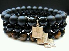 BOYBEADS Square Ankh: Key of Life Men's 8mm Black Onyx, Tiger Eye Egyptian Bracelet