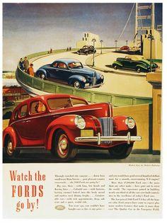 Modern Ford Cars for Modern Highways, Golden Gate Bridge - 1940