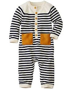 Baby Stripey Sweater Romper In Cotton Cashmere by Hanna Andersson