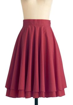 Effortless is More Skirt in Burgundy - Work, Casual, Vintage Inspired, Red, Solid, Tiered, Long, A-line, Exclusives
