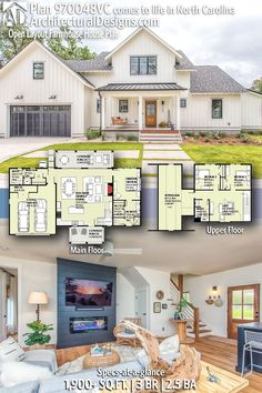 Architectural Designs Modern Farmhouse Home Plan client-built in North Carolina with an apartment over the garage! Base plan has 3 Bed Architectural Design House Plans, Architecture Design, Home Design, The Plan, How To Plan, Modern Farmhouse Exterior, Farmhouse Homes, Country Farmhouse, House Floor Plans