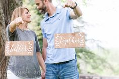 Mr and Mrs Chair Signs - Better Together - Wooden Wedding Signs - Wood