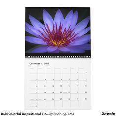 Bold Colorful Inspirational Flower Calendar