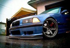 BMW E36 M3 blue slammed