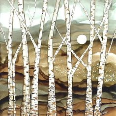 Alcohol Ink Birch Trees Print / Original Art by Karen Wysopal Title: Grey Mountain Moonrise PRINT SPECIFICATIONS: - Dimensions (inches): choose 10x10, 8x8 - Finish: Premium Enhanced Matte Professional Grade Photo Paper - Printed with Epson Claria® Hi-Definition dye ink - Your print
