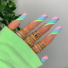Bling Acrylic Nails, Best Acrylic Nails, Acrylic Nail Designs, Dope Nail Designs, Coffin Nails, Stylish Nails, Trendy Nails, Glow Nails, Acylic Nails