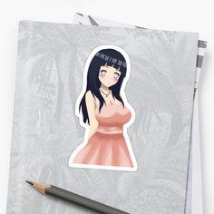 sticker of Hinata hyuga wear a pink dress