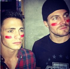 Arrow co-stars Colton Haynes and Stephen Amell show their true colors at the Superbowl!  Too much hotness in one place :)