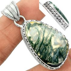 Faceted Moss Agate 925 Sterling Silver Pendant Jewelry MAFP5 #XTREMEGEMS