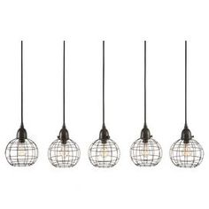 """Showcasing 5 lights and openwork iron shades, this eye-catching pendant adds industrial-chic appeal to your dining room or kitchen decor.   Product: Set of 5 pendantsConstruction Material: IronColor: BlackFeatures:  33-54"""" Adjustable cord lengthHardwired connectionHandcrafted Accommodates: (5) 60 Watt bulbs - not includedDimensions: Canopy: 1"""" H x 36"""" W x 5"""" DPendant: 9"""" H x 7"""" Diameter each"""