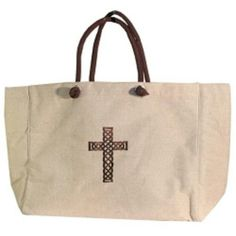 "Natural Canvas Cross Tote Cross Woven Canvas Tote Bag  Natural color Woven Canvas Tote Bag with Chocolate brown Cross embroidered on front. Snap enclosure. Small zipper pocket inside side. Fully Lined. 19""L x 14.5 Tall x 7"" Wide Bags Totes"