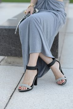 gray maxi dress with black and gray two-tone sandal heels,  M Loves M