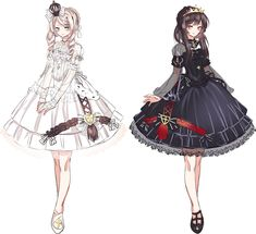 White and Black 5 Anime, Anime Chibi, Gothic Anime, Gothic Lolita, Komplette Outfits, Anime Outfits, Cute Anime Character, Character Outfits, Kawaii Anime Girl