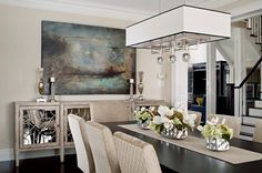 Mirror above buffet table dining room transitional with mirrored buffet table square chandelier white trim