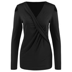 Surplice Cut Out Ruched Tee - BLACK XL