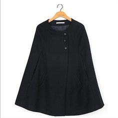 2015 New Women Winter Warm Casual Loose Cape Batwing Wool Poncho Jacket Cloak Coat H0876-in Wool & Blends from Women's Clothing & Accessories on Aliexpress.com | Alibaba Group