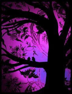 Purple Tree with Love Birds