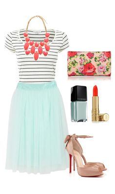 { Teacher Style } Mint A-Line pleated skirt, navy and white stripe short sleeve tee tucked in, coral bauble necklace, nude flats or wedges