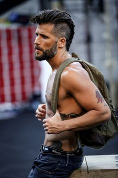 Guys in jeans Mohawk Hairstyles Men, Cool Hairstyles For Men, Haircuts For Men, Beard Styles For Men, Hair And Beard Styles, Long Hair Styles, Rock Star Hair, Mullet Hairstyle, Scruffy Men