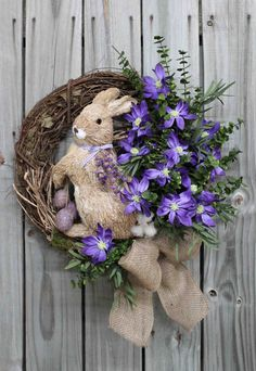 Here Comes Peter Cottontail Straw Easter Rabbit by FloralsFromHome Quilling, Here Comes Peter Cottontail, Easter Wreaths, Spring Wreaths, Do It Yourself Crafts, Easter Holidays, Patriotic Decorations, Happy Easter, Easter Bunny