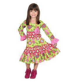 Look at this #zulilyfind! Pink & Green Cameron Dress - Infant, Toddler & Girls #zulilyfinds