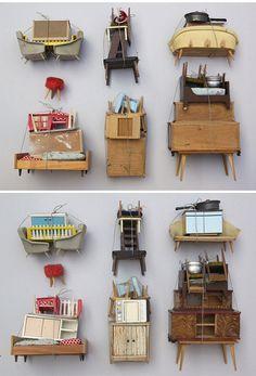 Fabulous hand made miniature furniture. The miniature world of Duesseldorf based artist Sabine Timm.