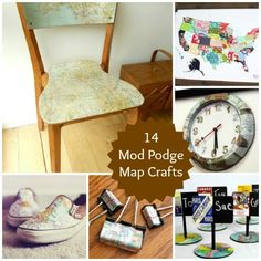 14 Mod Podge Map Crafts ill read this one kater Diy Projects To Try, Crafts To Make, Craft Projects, Arts And Crafts, Craft Ideas, Diy Ideas, Map Crafts, Travel Crafts, Diy Wedding Gifts