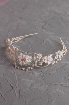 Bridal floral crown, Delicate wedding tiara with pale peach flowers and silver leaves, bridal silver diadem, wedding lightweight crown Wedding Day Jewelry, Wedding Jewelry, Blush Flowers, Floral Flowers, Floral Crown, Floral Hair, Floral Headpiece, Sterling Silver Flowers, Flower Necklace