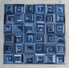 This log cabin quilt was a group effort made by many hearts and hands- measuring 75 inches by 75 inches. I provided hand-dyed indigo cotton and linen fa. Patch Quilt, Quilt Blocks, Quilting Projects, Quilting Designs, Quilting Ideas, Monochromatic Quilt, Handmade Quilts For Sale, Blue Quilts, Denim Quilts
