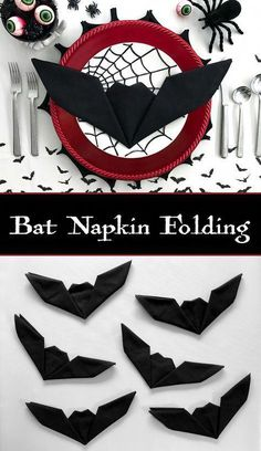 Bat Napkin Folding - Batman Decoration - Ideas of Batman Decoration - Get creative with your Halloween place settings! These fun bat napkins are a cinch and take less than one minute to fold. No need to be an origami expert to master this technique. Halloween Tags, Happy Halloween, Table Halloween, Casa Halloween, Halloween Snacks, Halloween 2018, Holidays Halloween, Halloween Themes, Halloween Crafts