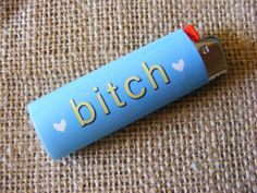 Bitch Vinyl Sticker for Bic Lighter Cool Lighters, Custom Lighters, Cigarette Aesthetic, Bic Lighter, Puff And Pass, Pipes And Bongs, Stoner Girl, Light My Fire, Smoking Weed
