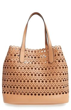 d4f2f0c0a6ff Perforated Faux Leather Tote with Pouch Tote Purse