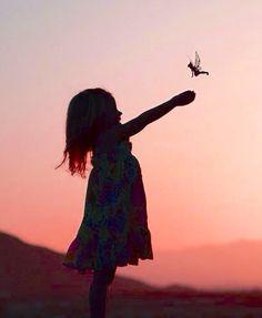 Silhouette of little girl  & Tinkerbell fairy