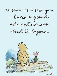 """This is a sweet Winnie the Pooh quote by A.A. Milne, customized for a boy with a light blue background. / The quote reads: / """"As soon as I saw you I knew a grand adventure was about to happen"""". • Millions of unique designs by independent artists. Find your thing."""