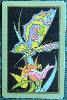 """Papillon"" Butterfly 1 Vintage Art Deco NN Narrow Named Swap Playing Card 