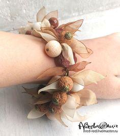 Купить Браслет с кораллами. В стиле бохо... - браслет безразмерный, браслет пышный, браслет крупный