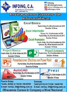 @InfoingCursos #informática  CURSOS DE INFORMÁTICA 2016     * Octubre a Diciembre 2016 * Caracas y Puerto Ordaz  INFOING Consultoría y Capacitación * Teléfonos: Puerto Ordaz: + 58 (286) 961.8765 / Caracas: + 58 (212) 417.1536 * Correo: ventas_06@Infoing.com.ve / ventas_04@Infoing.com.ve * Twitter: @InfoingCursos  * http://www.Infoing.com.ve  #PuertoOrdaz #InCompany #Presencial #TI #Caracas #CAD #Prezi #Excel #PPT #Projecto