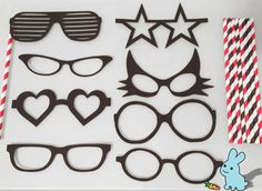 8 Photo Booth Props Set Sunglass Variety Black by BlueBunnyStore