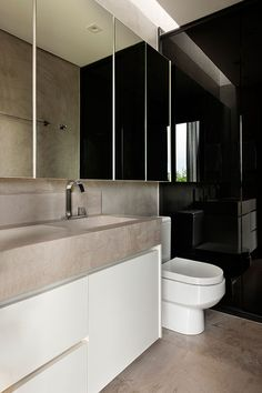 1:1 Arquitetura Design Creates a Contemporary Home with Strong Character in Brasilia, Brazil, bathroom
