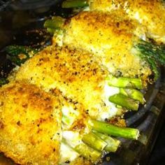 Chicken Asparagus Roll-Ups ... Would make a few changes but seem simple and look delicious