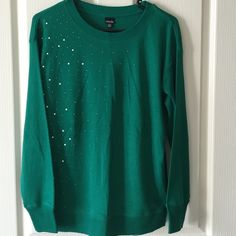 NWT Embellished Sweater  Emerald green sweater with pearl & silver embellishments along the right side. Brand new with tags still attached! | NO PAYPAL NO TRADES, Negotiations through the offer button please ❤️ rafaella Sweaters Crew & Scoop Necks