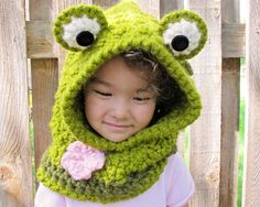 CROCHET PATTERN - Frog Fun a hoppy hoodie - frog hood w/ cowl and flower in 3 sizes (Toddler, Child, Adult) - Instant PDF Download by TheHatandI on Etsy