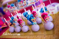 Loving the cake pops at this Shimmer and Shine Birthday Party!! See more party ideas and share yours at CatchMYParty.com #catchmyparty #shimmerandshinebirthdayparty #shimmerandshinecakepops