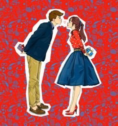 Illustration by Anna Lazareva High School Couples, High School Art, Couple Illustration, Character Illustration, Illustration Fashion, Fashion Illustrations, Sketches Of People, Young Love, Young Couples