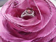 Pink tourmaline and diamond ring at Calvin's Fine Jewelry in Austin. #diamond #tourmaline #whitegold #jewelry #ring
