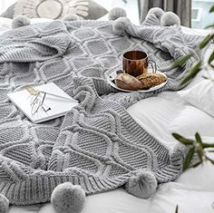 LakeMono Acrylic Iceland Wool Knitted Throw Blanket, Super Soft Couch/Sofa/Bed Cover Quilt with Handmade Pompoms (Grey, Cable Knit Blankets, Knitted Blankets, Sofa Blanket, Sofa Throw, Glam Master Bedroom, Sofa Couch Bed, Personalized Pillows, Chenille, Velvet Cushions