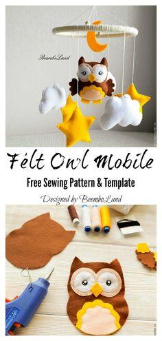 felt toys Felt Owl Mobile Free Sewing Pattern and Template Felt Owl Pattern, Felt Patterns Free, Owl Sewing Patterns, Felt Animal Patterns, Felt Crafts Patterns, Felt Crafts Diy, Owl Crafts, Felt Diy, Pattern Sewing