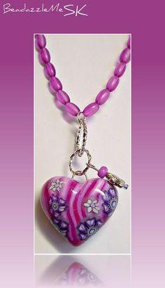 polymer clay Itty Bitty Heart pendant by Sherri Kellberg... her hearts are stunning..love 'em.