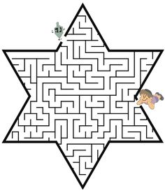 hanukkah maze star of david shape - Hanukkah Coloring Pages